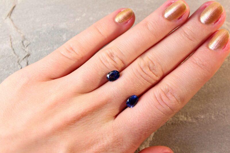 2.5 ct blue oval sapphire pair