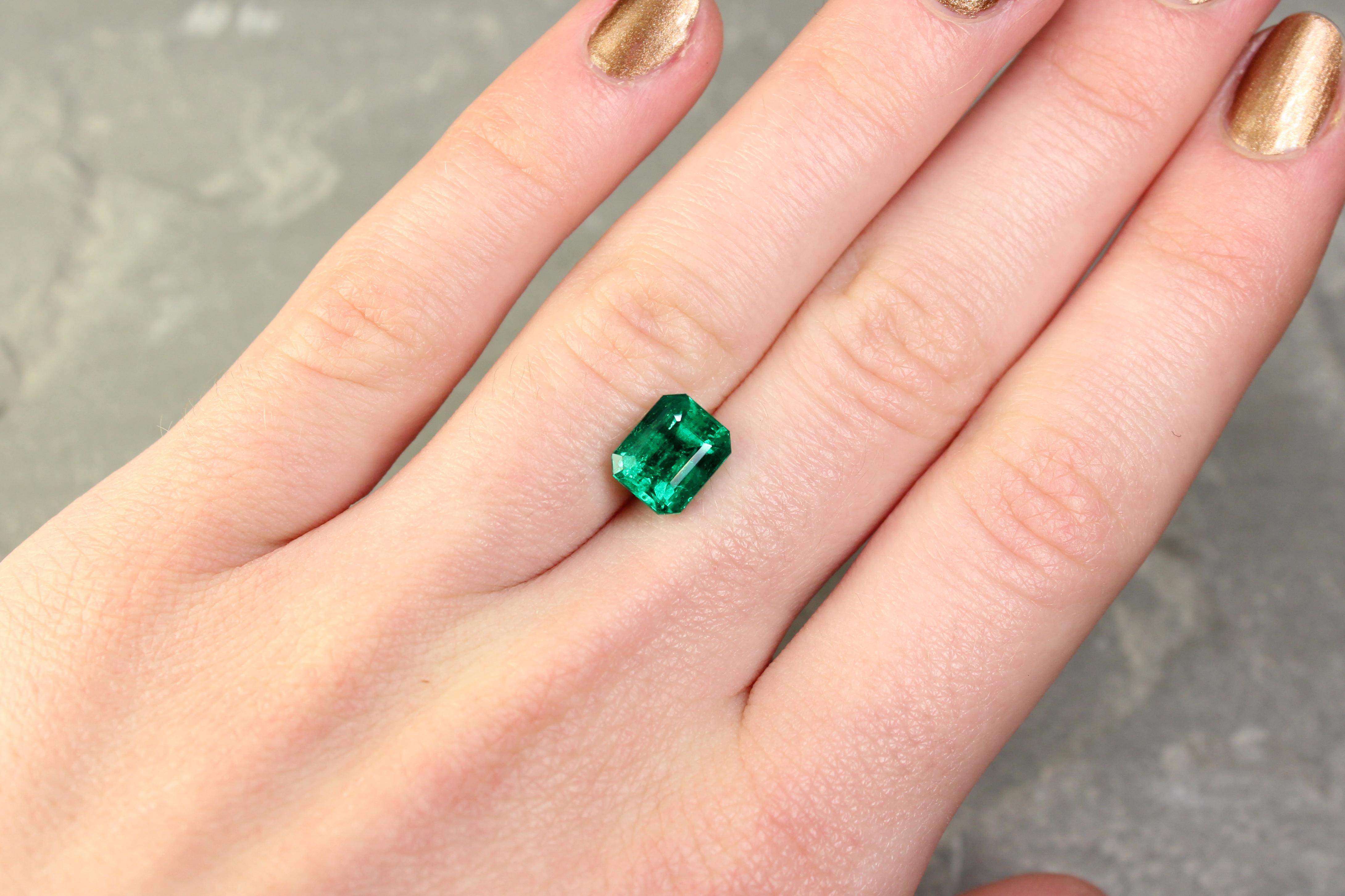2.59 ct green octagon emerald
