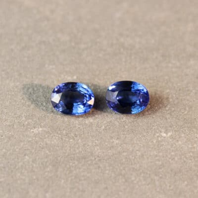 2.60 ct blue oval sapphire pair