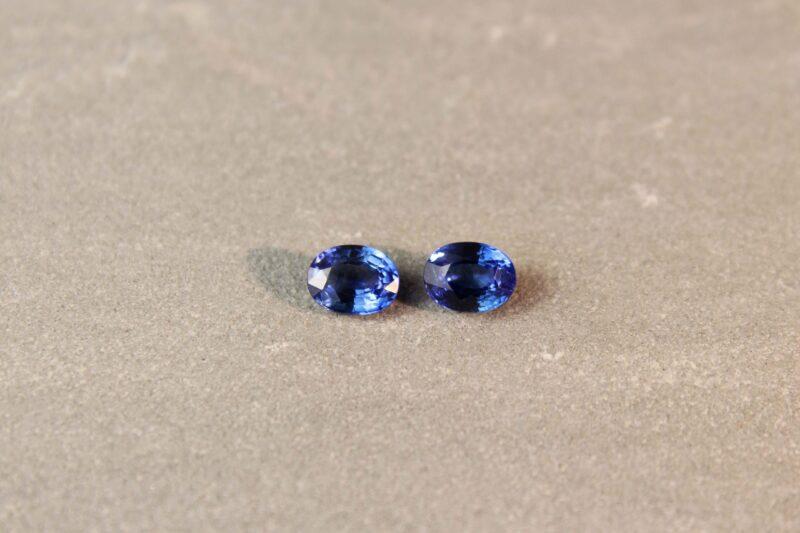 2.60 ct blue oval sapphire pair