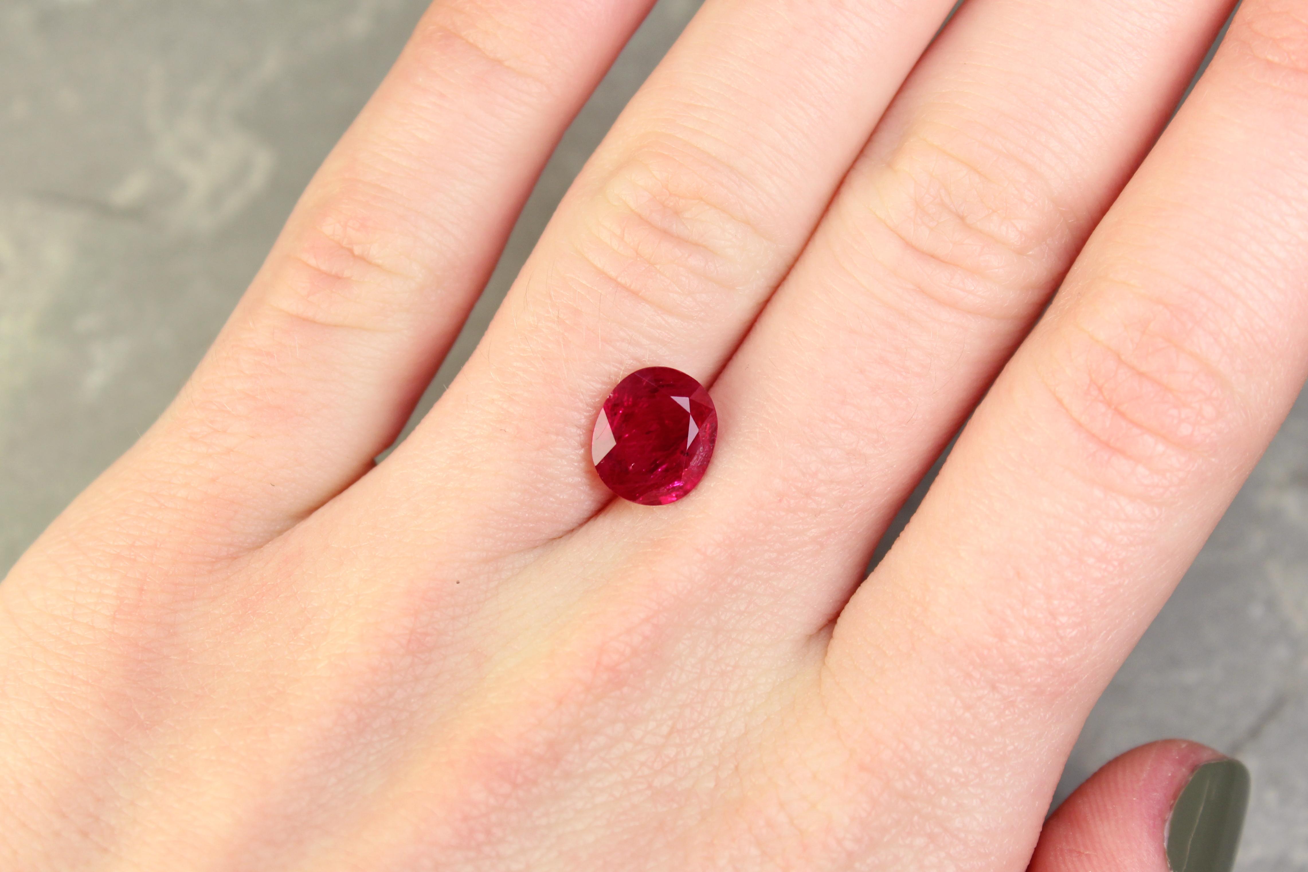 Purplish Red Oval Ruby