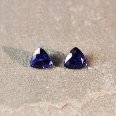 2.63 ct blue trilliant sapphire pair