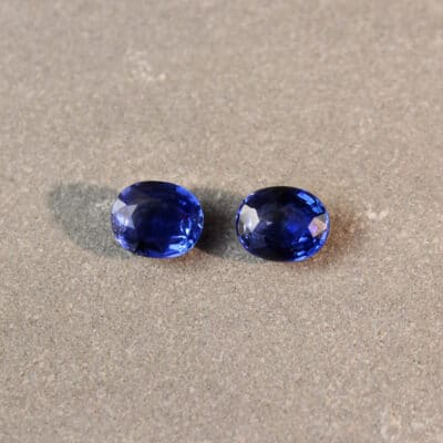 2.67 ct blue oval sapphire pair