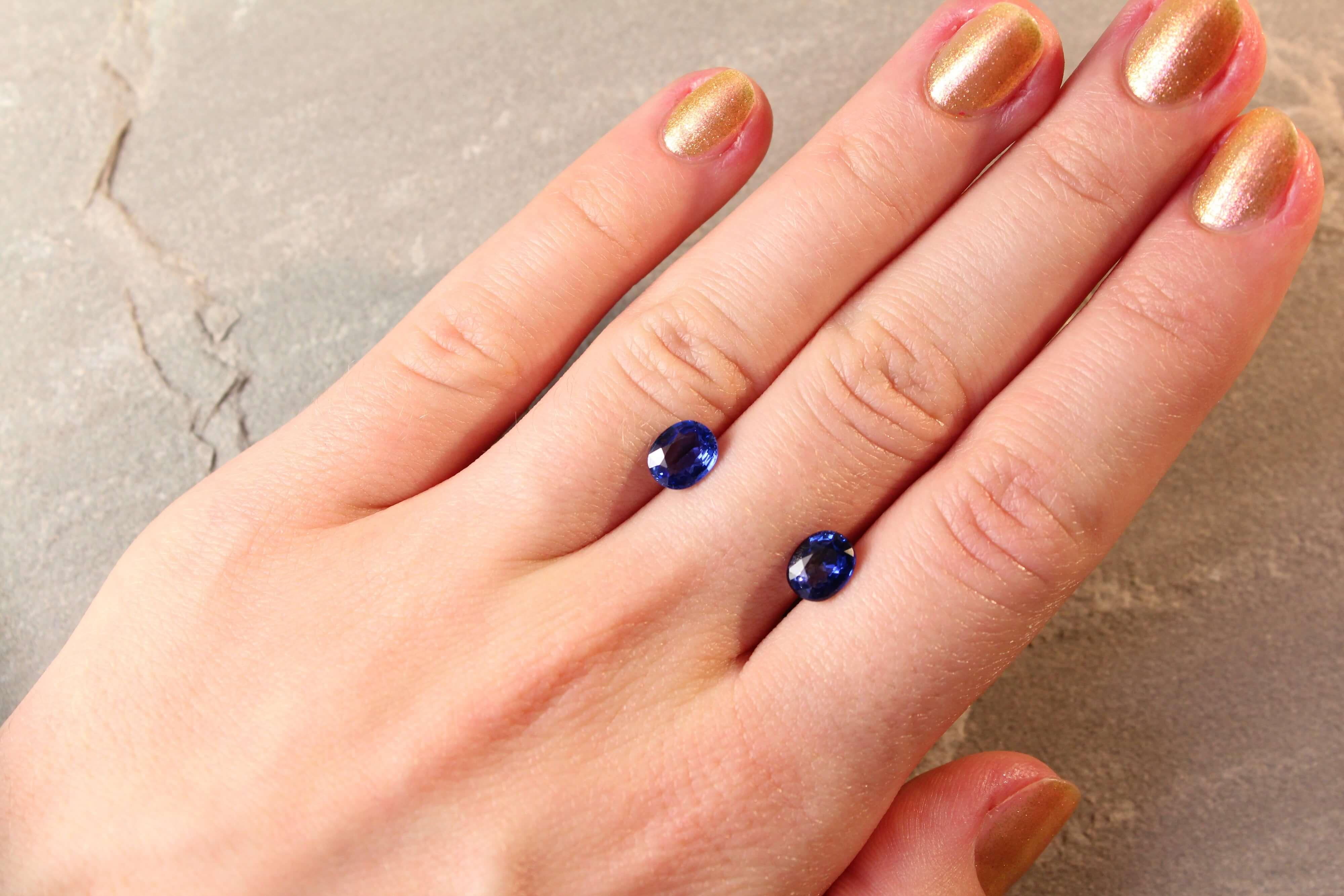 2.67 ct blue oval sapphire pair