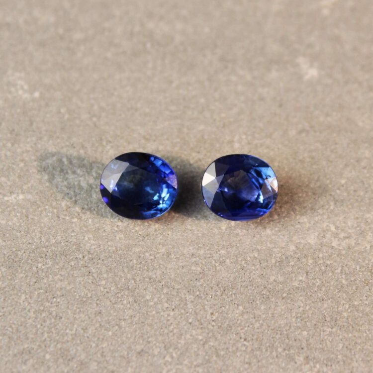 2.73 ct blue oval sapphire pair