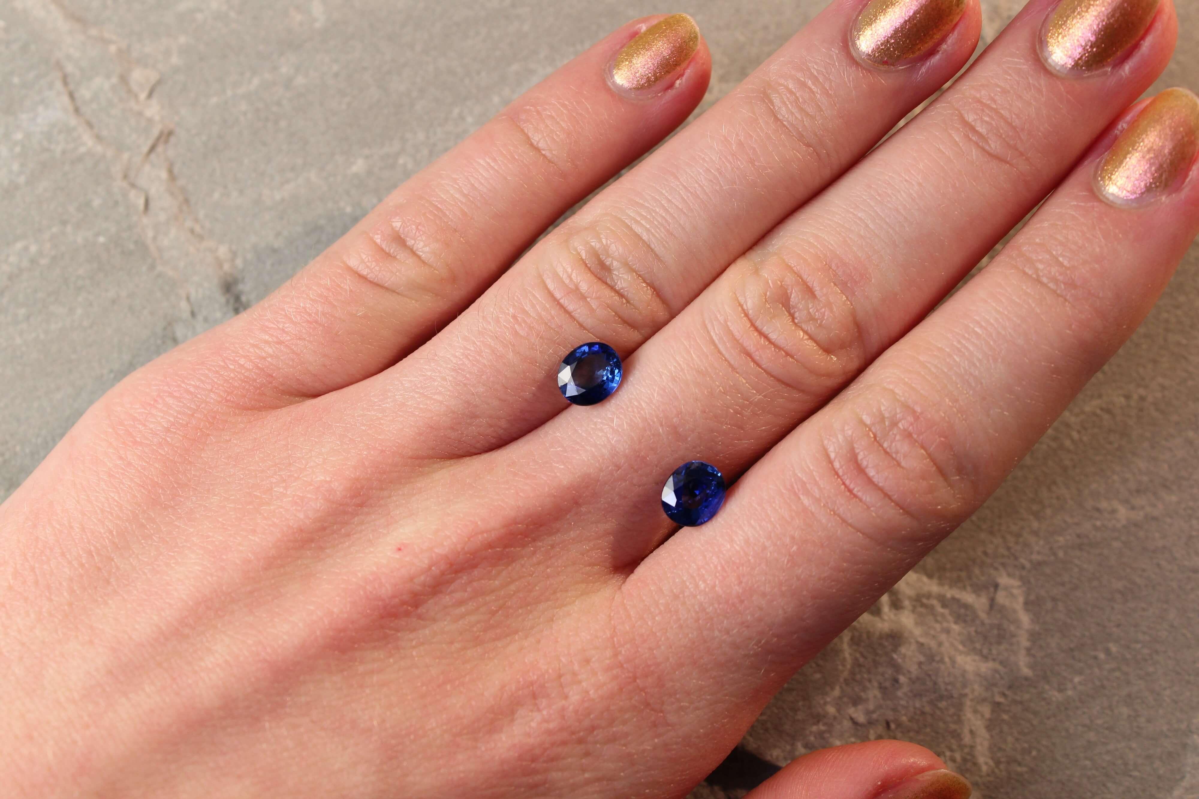 2.73 ct blue oval sapphire pair