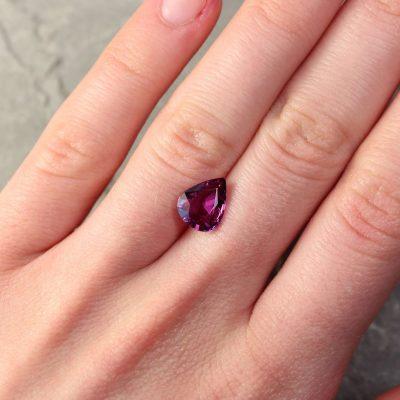 2.88 ct pinkish purple pear shape sapphire