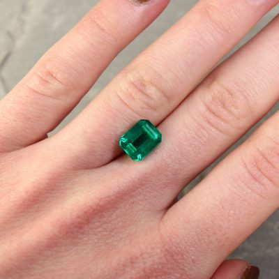 2.91 ct emerald cut green emerald