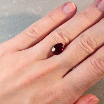 2.97 ct vivid red oval ruby