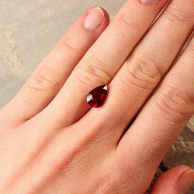 3.09 ct vivid red pear shape ruby