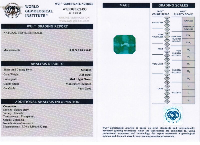 3.25 ct octagon green emerald
