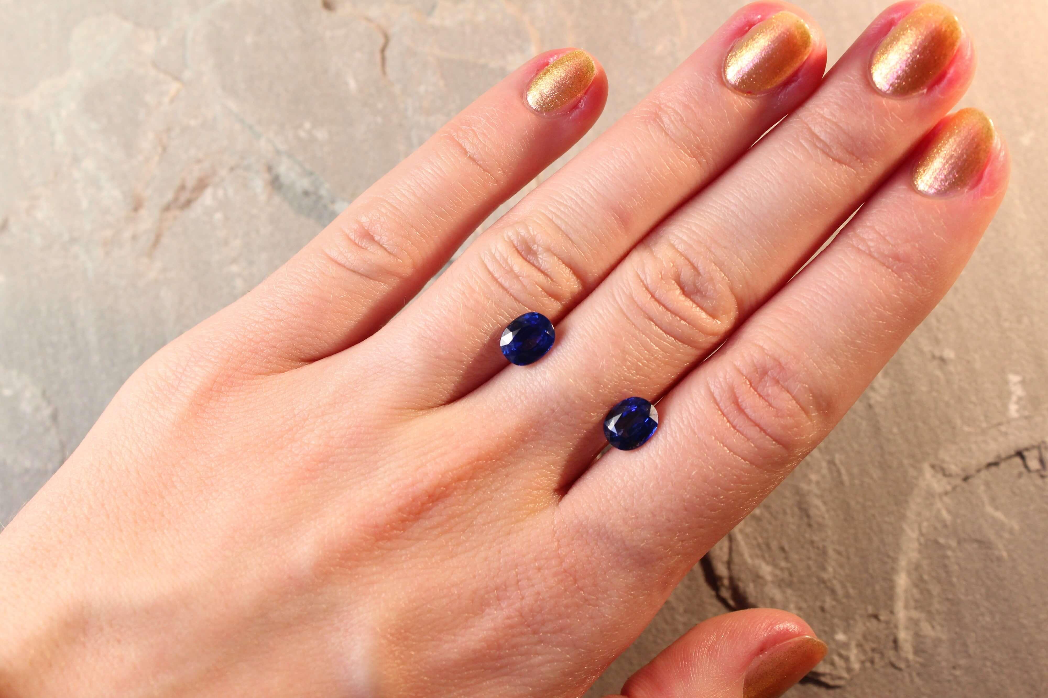 3.35 ct oval blue sapphire pair