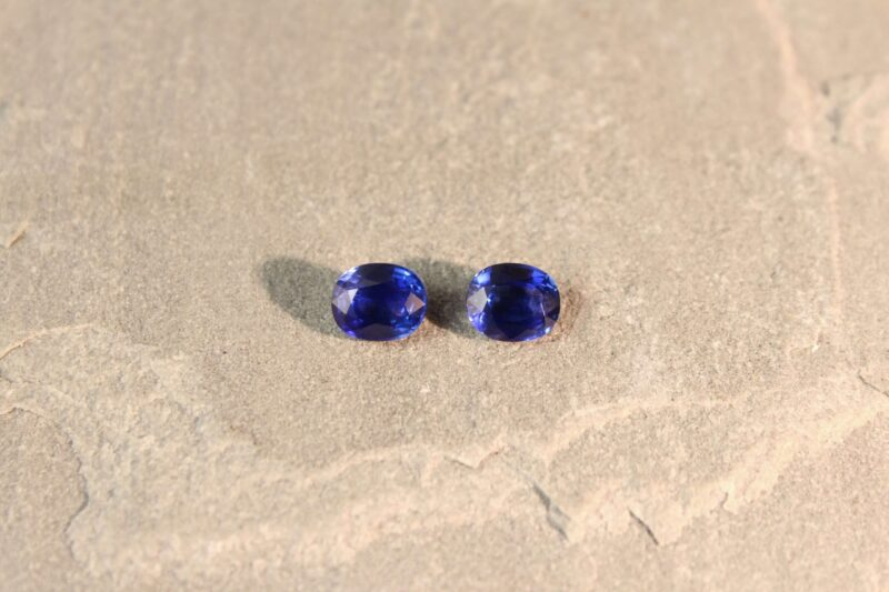 3.35 ct oval blue sapphire pair