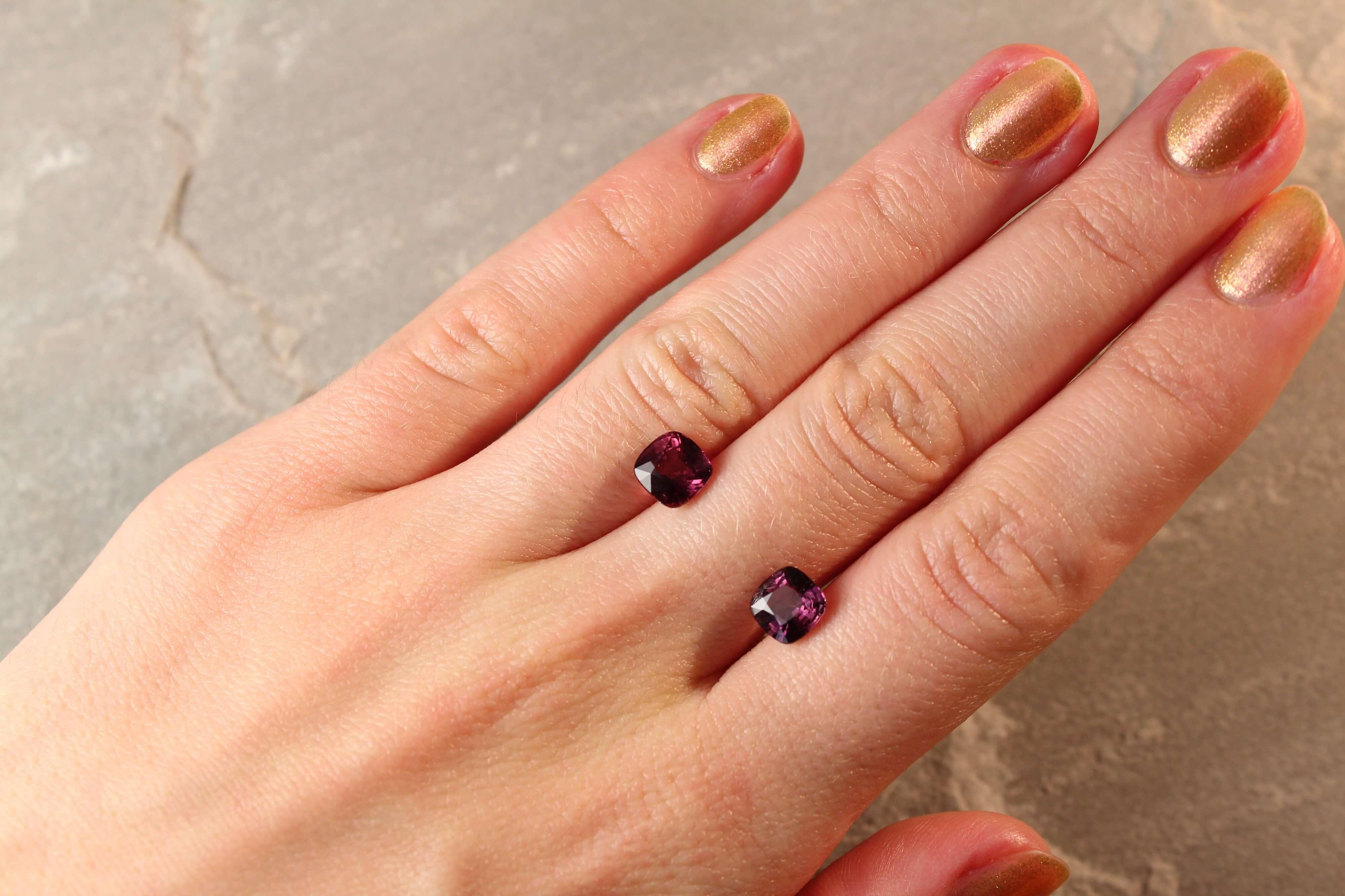 3.57 ct reddish brown cushion sapphire pair