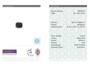 3.63 ct blue octagon sapphire