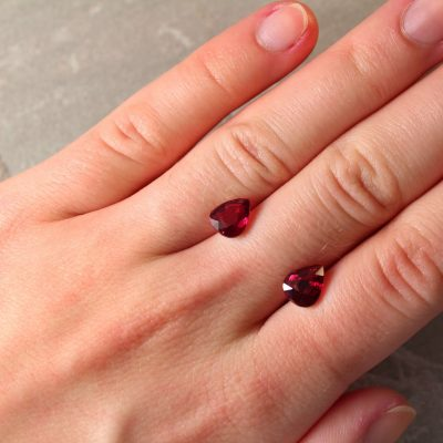 4.02 ct red pear shape ruby pair