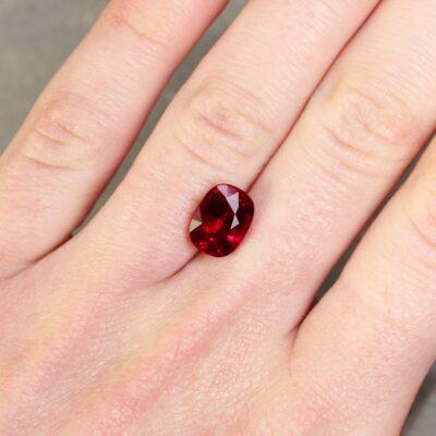 4.03 red cushion ruby