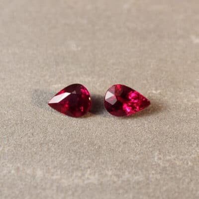 4.04 ct red cushion ruby pair