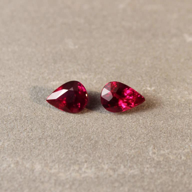 4.04 ct red pear shape ruby pair