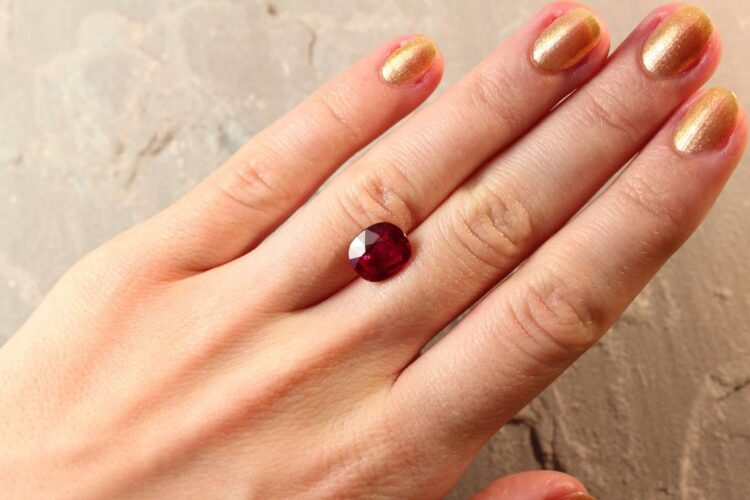 4.06 ct red cushion ruby