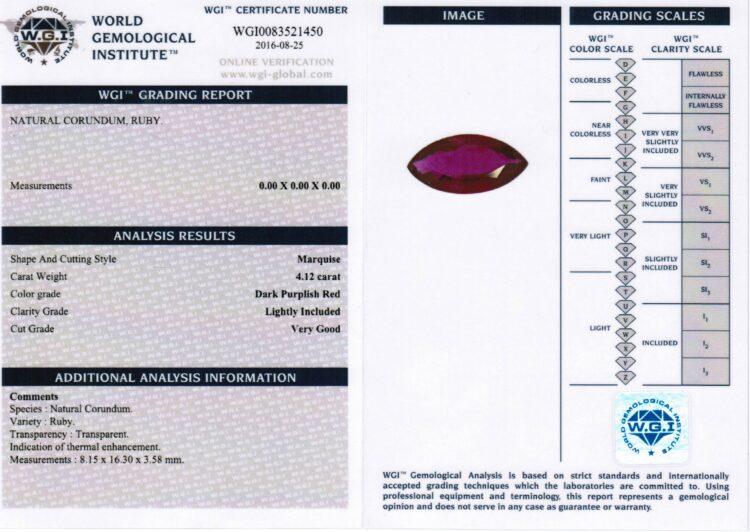 4.12 ct purplish red marquise ruby