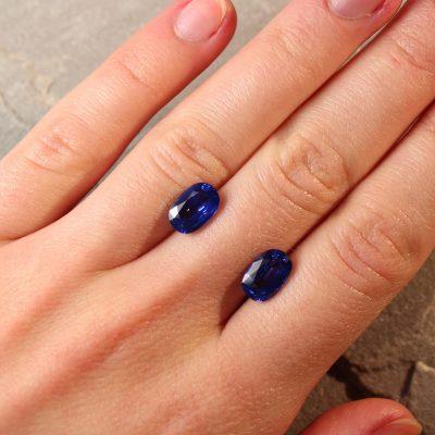 5.06 ct blue cushion sapphire