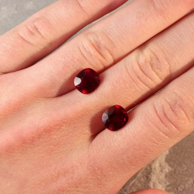 6.48 ct cushion red rubies