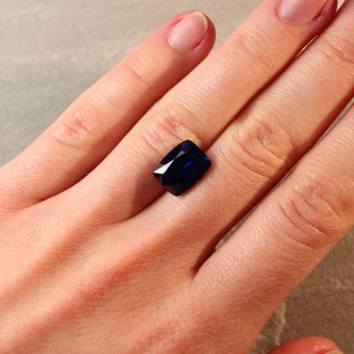 6.78 ct vivid royal blue cushion sapphire