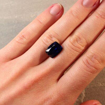 6.78 ct vivid royal blue cushion sapphire
