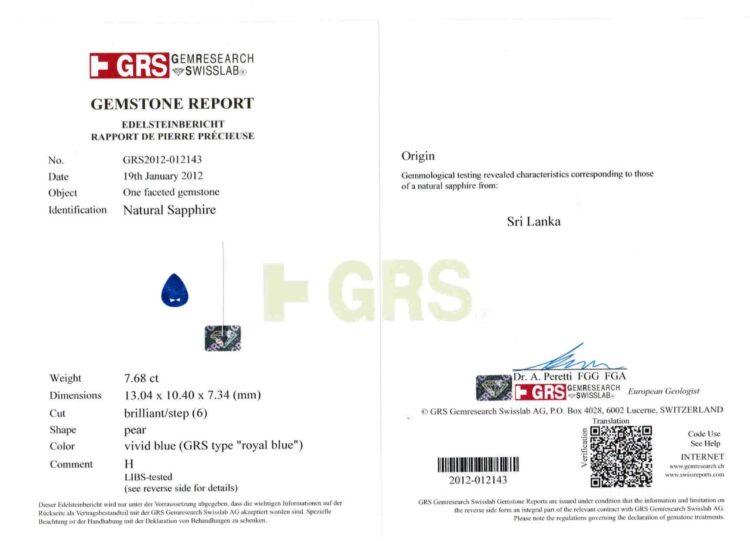 15.01 ct blue pear shape sapphire pair