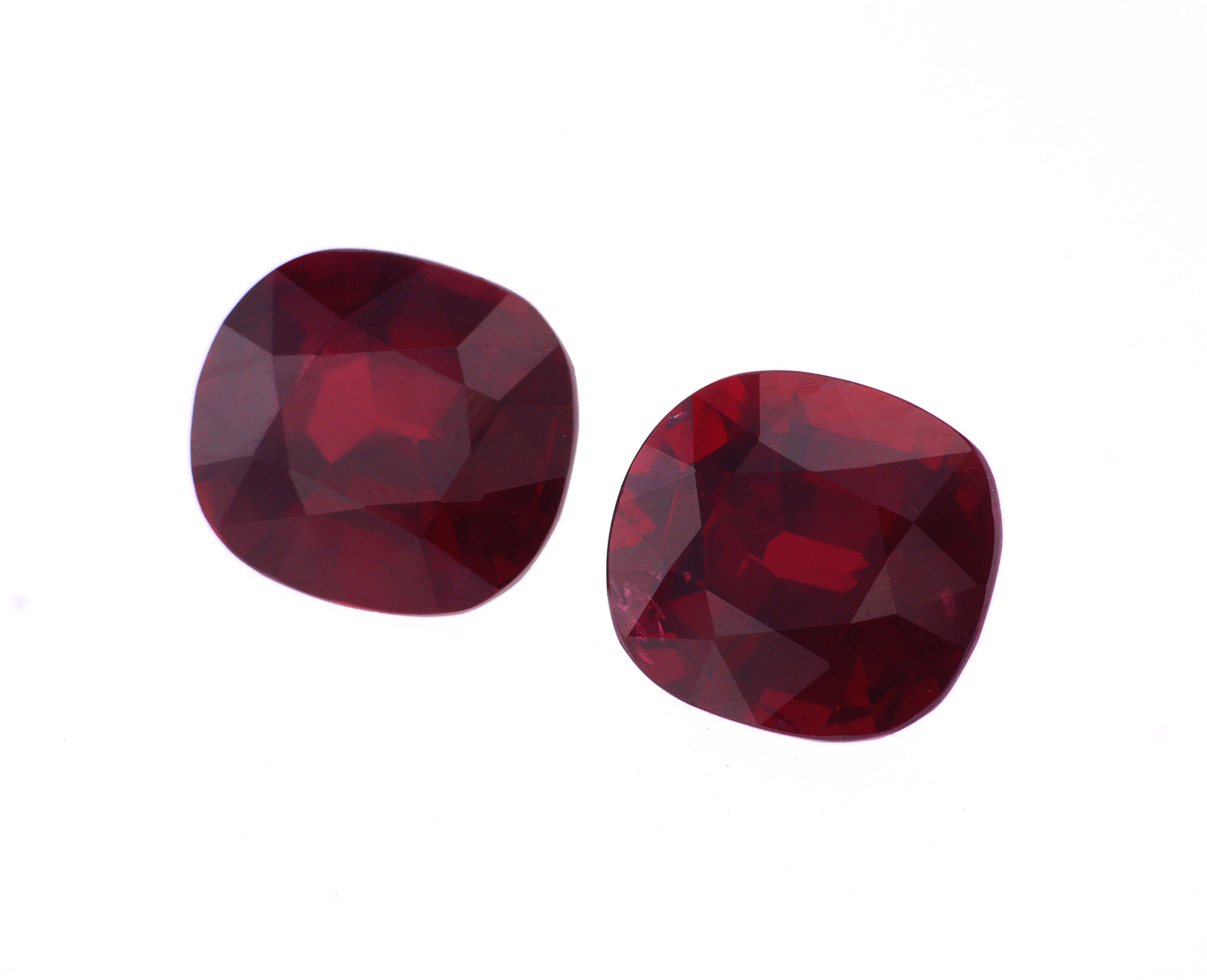 6.48 ct cushion red rubies