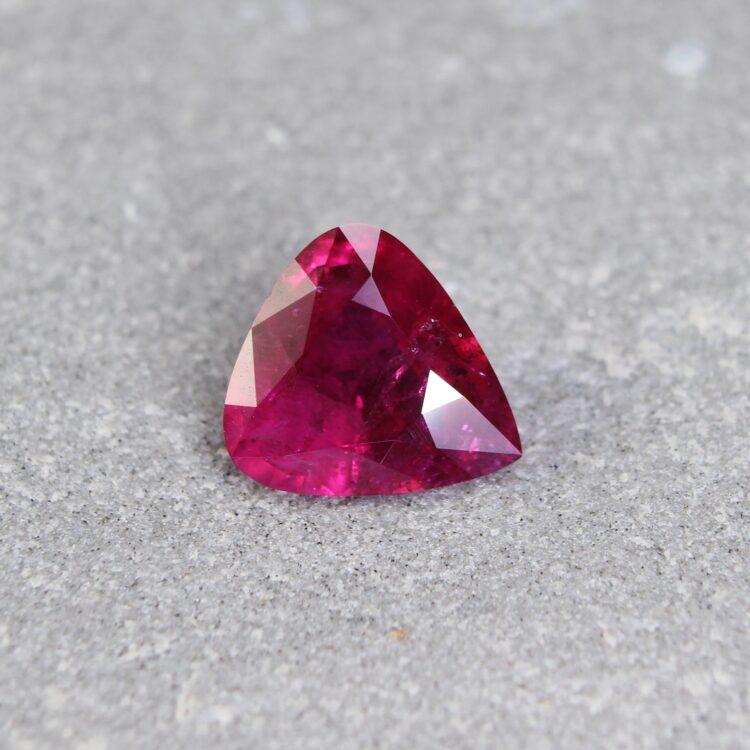 2.12 ct purplish red pear shape ruby