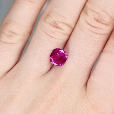 2.26 ct pinkish-red cushion ruby