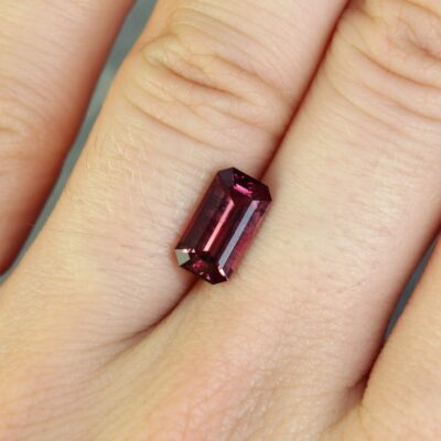2.19 ct orangy red octagon ruby