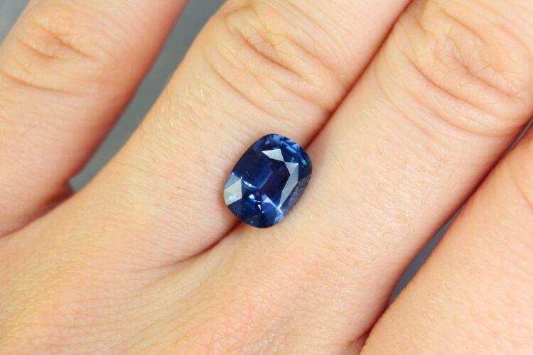 2.72 ct blue violet cushion sapphire