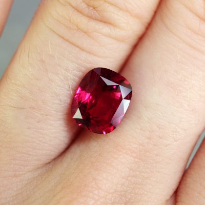 3.64 ct vivid red cushion ruby