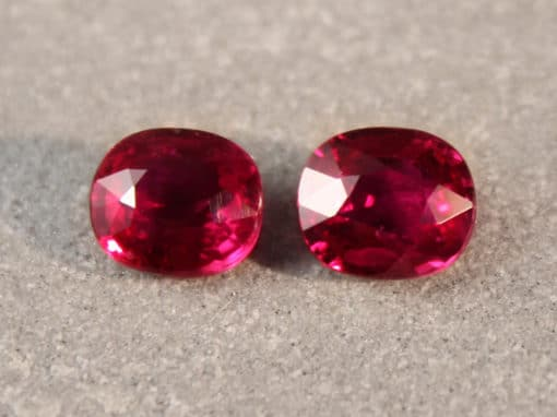 2.13 ct purplish red cushion / oval ruby pair