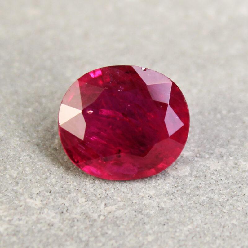 2.62 ct purplish red oval ruby