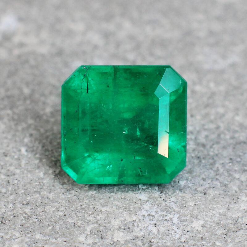 2.52 ct radiant green emerald