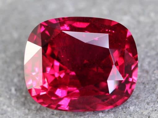 3.64 ct vivid red cushion ruby