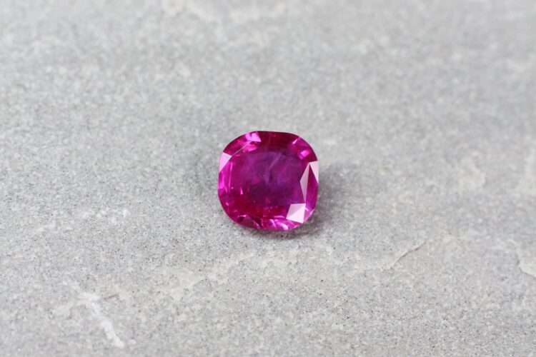 2.26 ct pinkish-red cushion ruby
