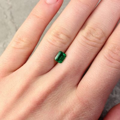 0.87 ct emerald cut green emerald