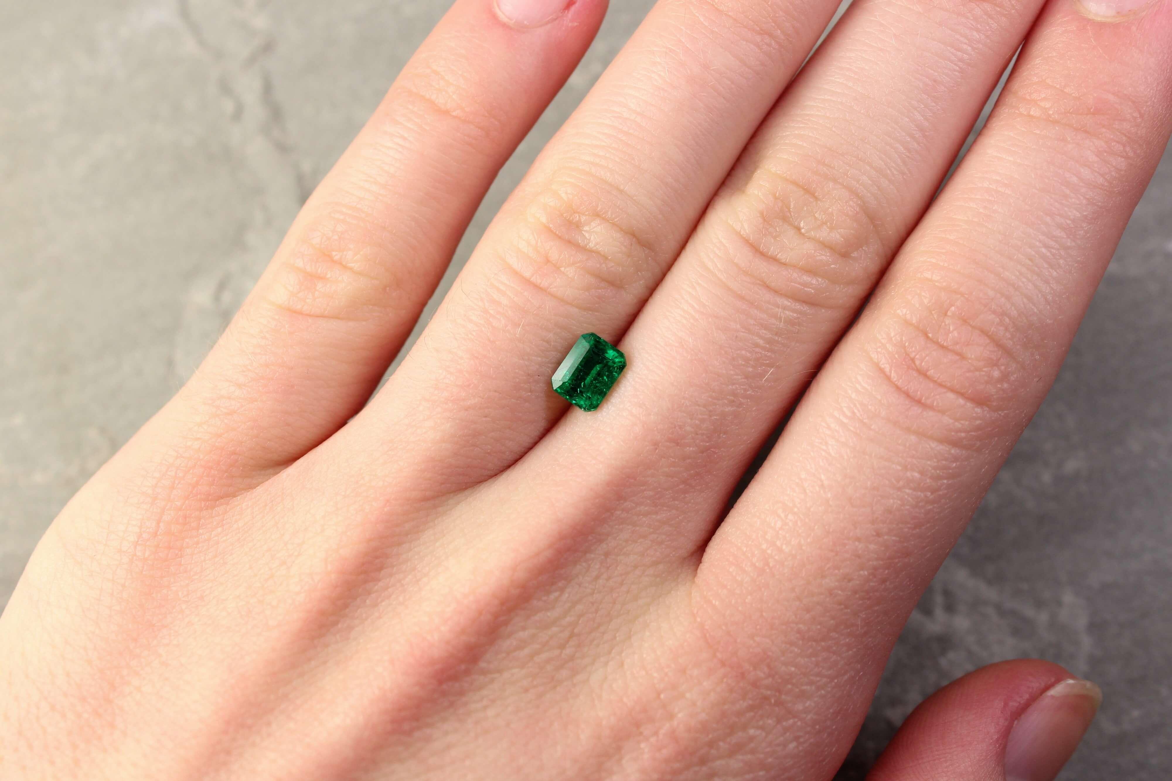 0.87 ct emerald cut green emerald