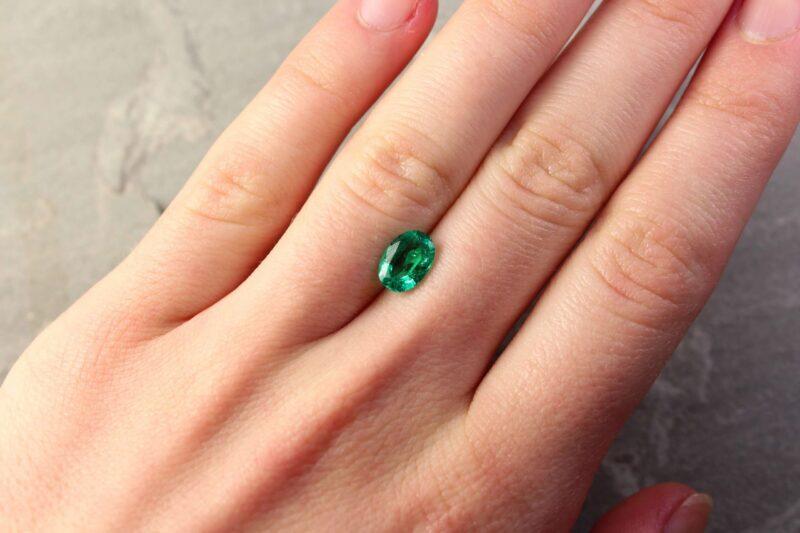 1.19 ct bluish green oval emerald