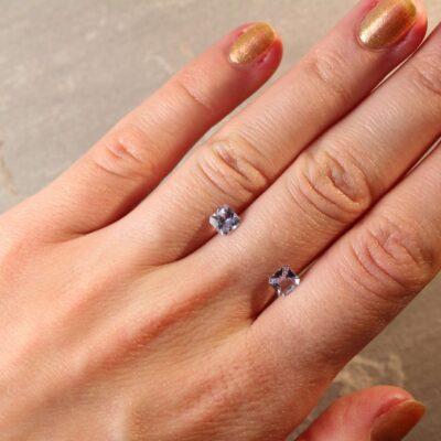 1.35 ct purplish blue radiant sapphire