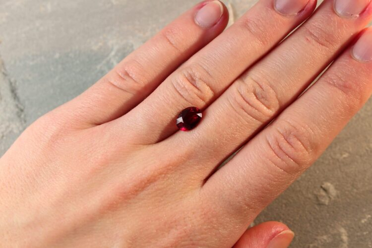 2.07 ct vivid red oval ruby