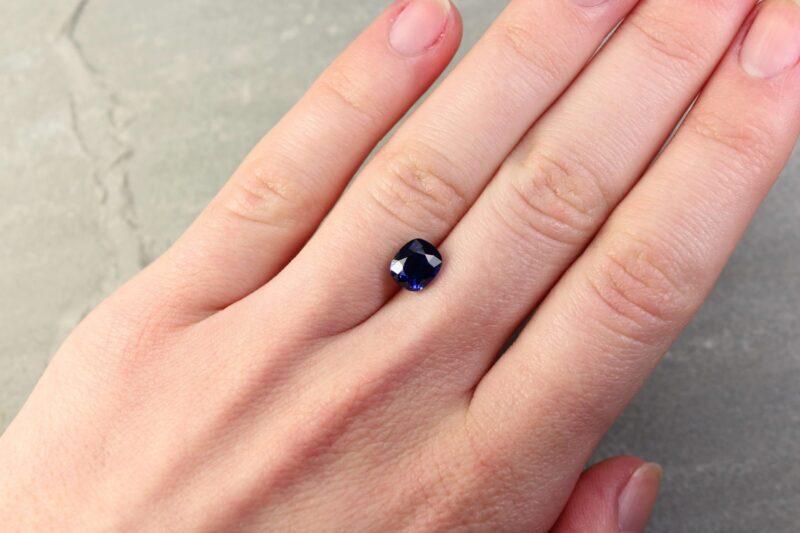 2.07 ct vivid blue cushion sapphire