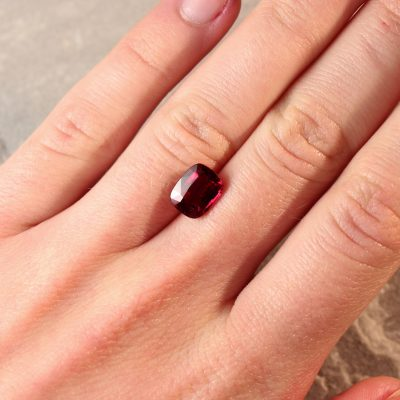 3.03 ct vivid red cushion ruby