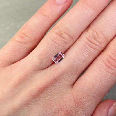 0.79 ct light pink emerald-cut sapphire