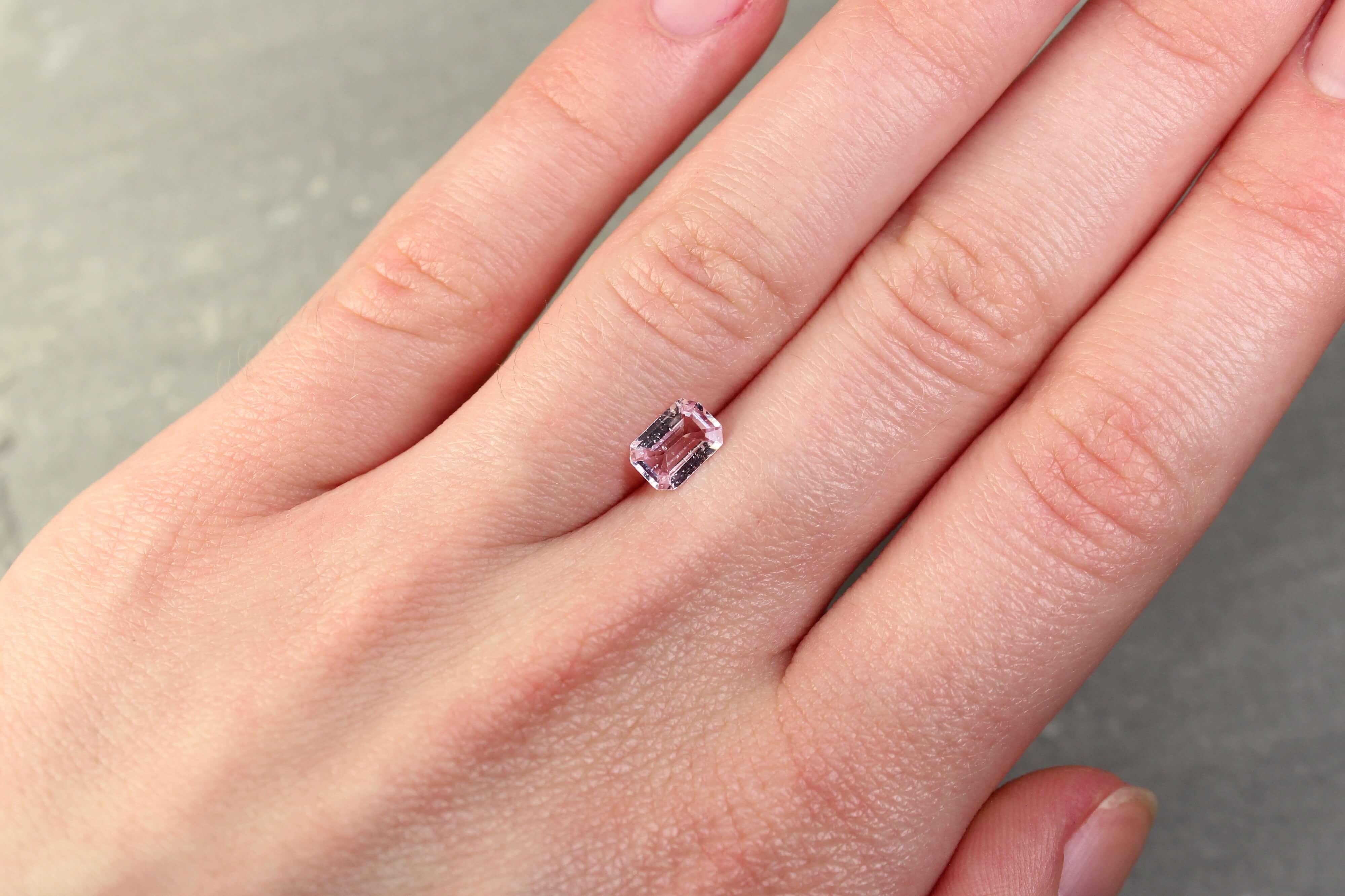 0.79 ct light pink emerald-cut sapphire